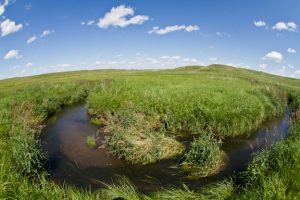Photo of a stream winding through the prairie
