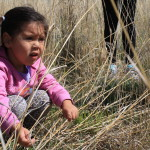 Photo of a toddler girl squatting in the prairie