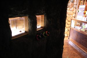 Photo from inside the cave display of two lighted display boxes