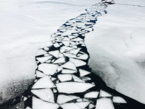 Photograph of broken ice trail