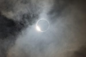 Photo of the solar eclipse in the clouds