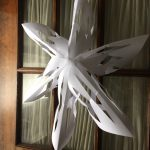 Photo of a giant snowflake on a door