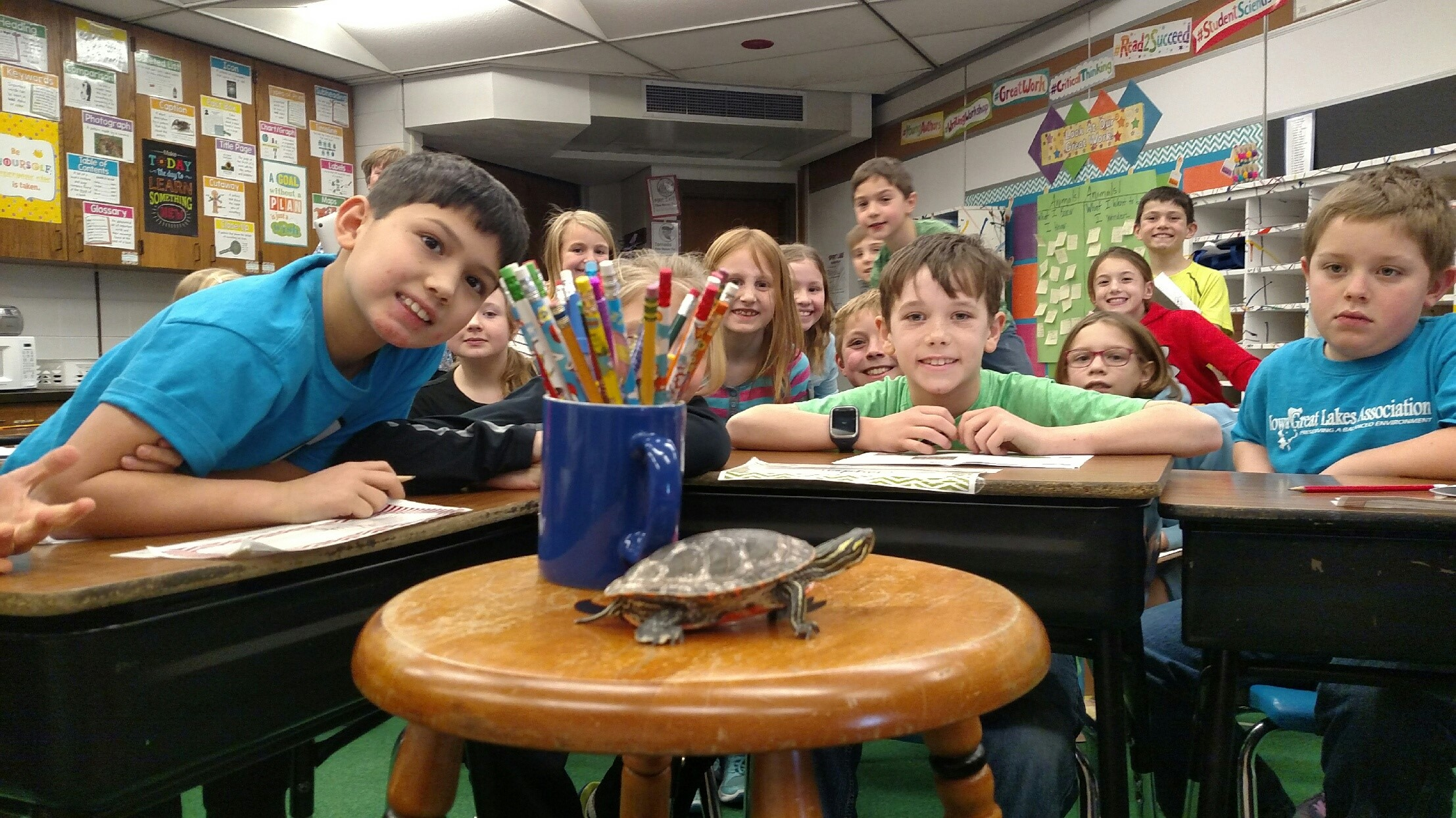 Photo of kids in a classroom with turtle in front