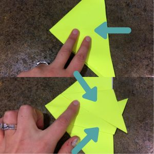 Photo of origami fish being folded