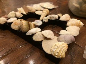Photo of a letter B covered in shells
