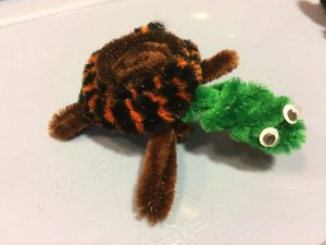 Photo of a pipe cleaner turtle
