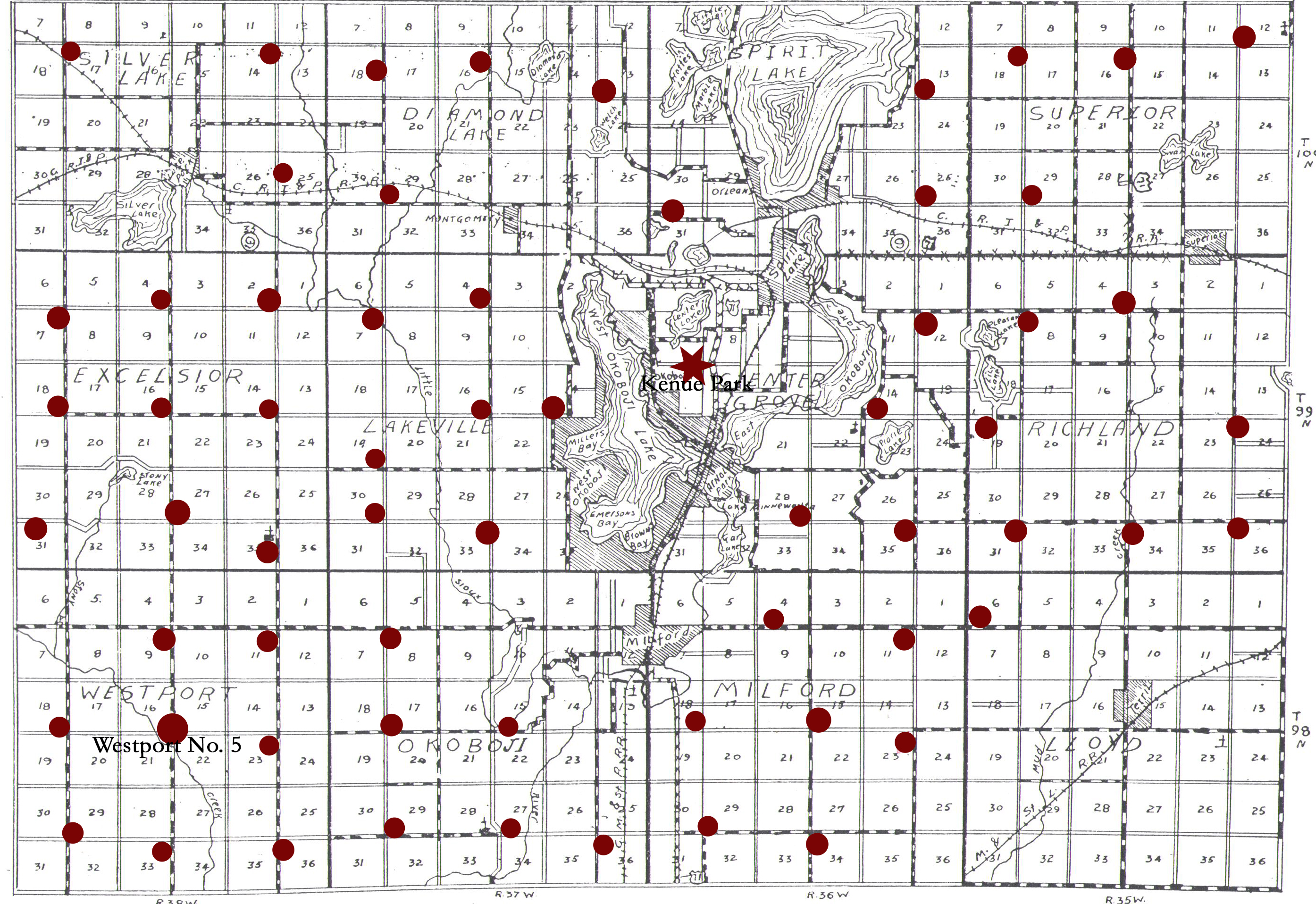 Map of Dickinson County with dots for schools