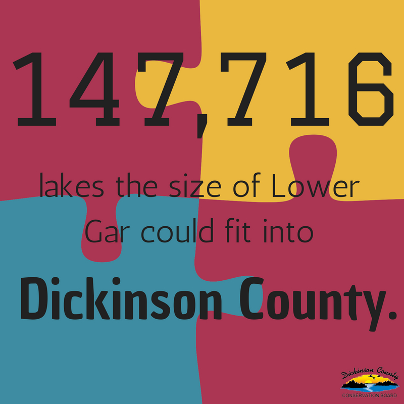 Graphic that says 147,716 lakes the size of Lower Gar could fit into Dickinson County.