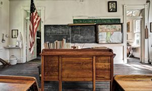 Photo of a teacher's desk in a country school