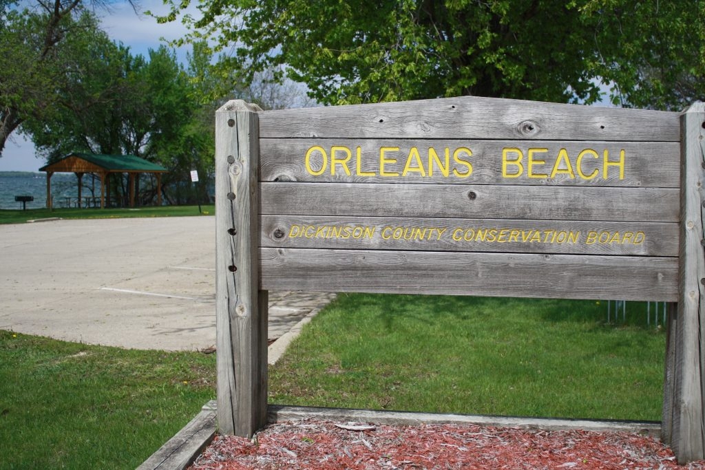 the Orleans Beach sign