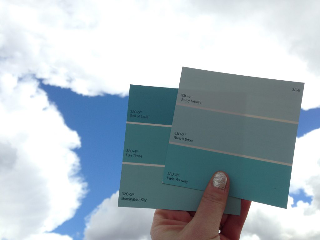 Photo of paint samples by the sky