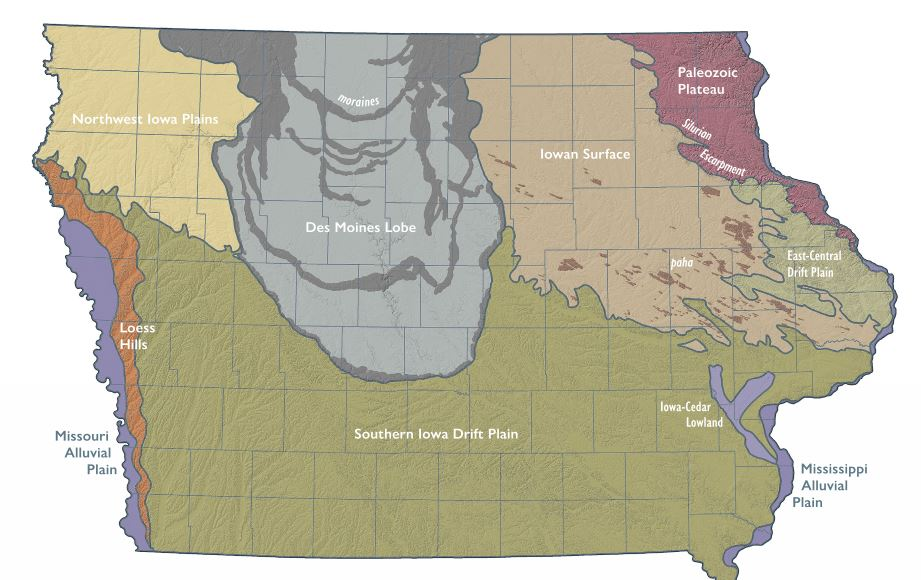 Graphic of Iowa landforms