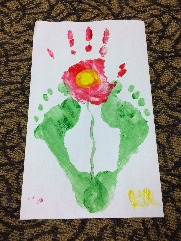 Photo of a handprint flower
