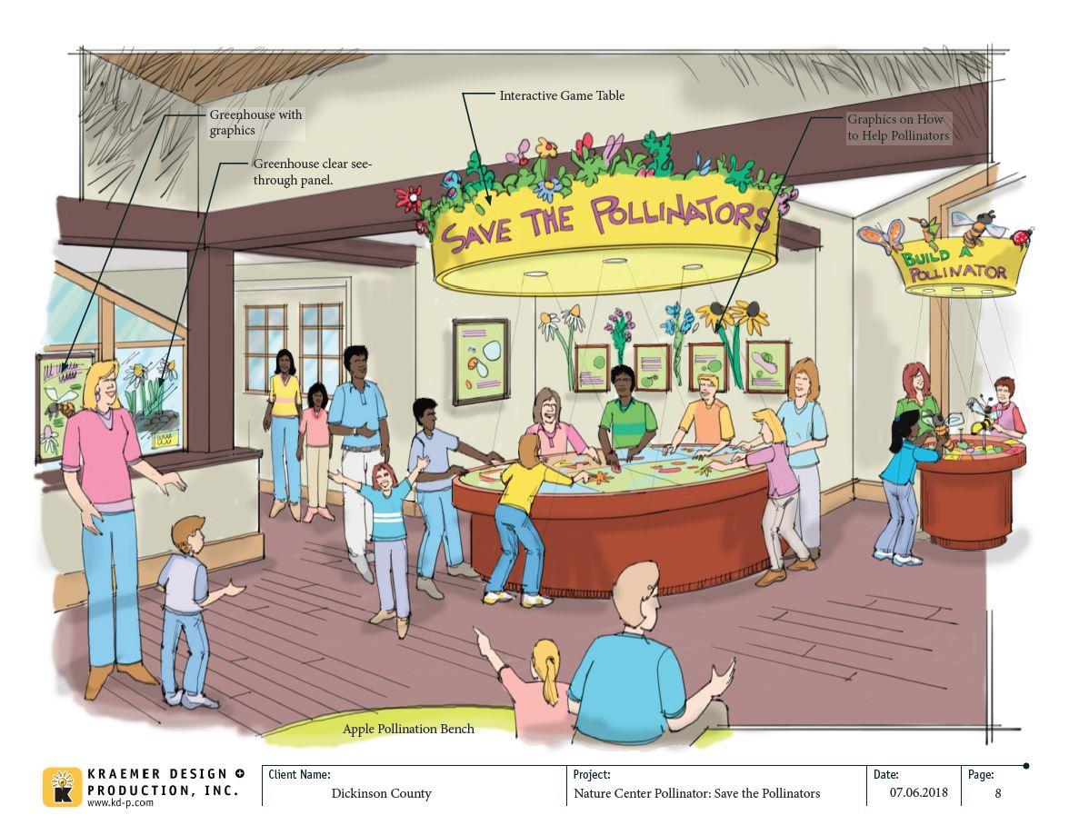 Graphic of save the pollinators exhibit