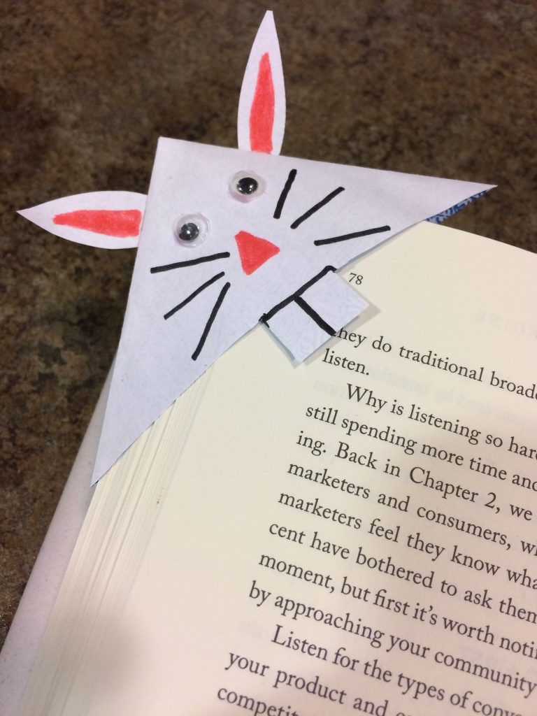 Photo of a bunny bookmark