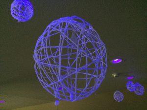 Photo of glowing yarn bubbles