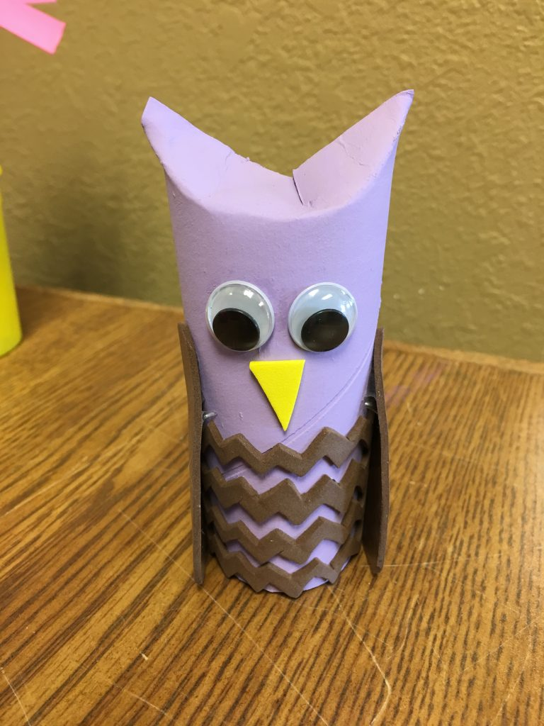 Photo of an owl made from a toilet paper tube