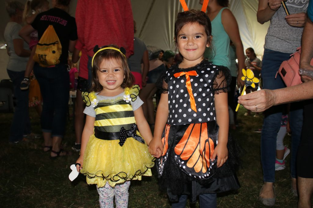 Photo of girls dressed up as bee and butterfly