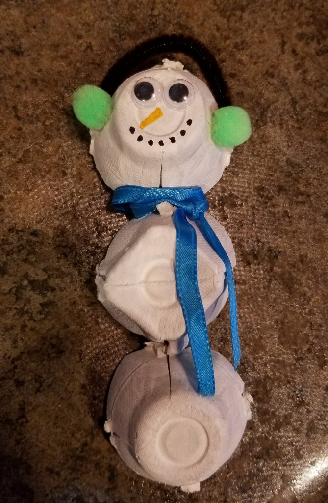 Photo of an egg carton snowman