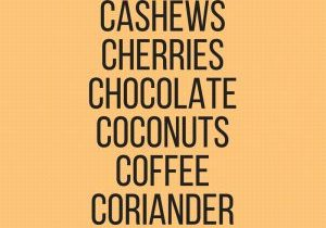 Graphic that says cardamom, cashews, cherries, chocolate, coconuts, coffee, coriander, cranberries