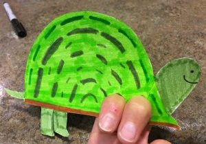 Photo of a turtle finger puppet