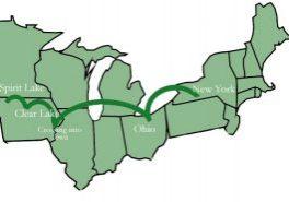 Green map of where the Gardners moved